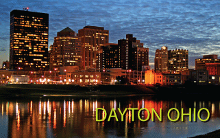 Dayton Ohio skyline along the river at night