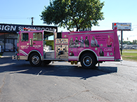 Custom Fire truck wrap breast cancer awareness 1